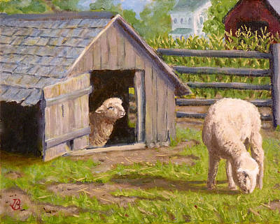 Poster featuring the painting Sheep House by Joe Bergholm