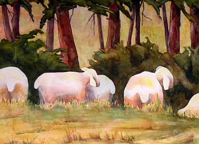 Sheep In The Meadow Poster by Blenda Studio