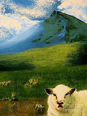 Sheep Looking In Poster