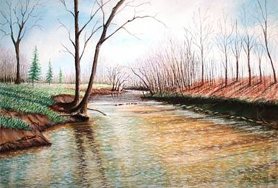 Poster featuring the pastel Shelby Stream by Stacy C Bottoms