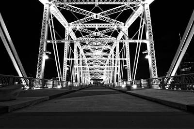 Shelby Street Bridge At Night In Nashville Poster by Dan Sproul