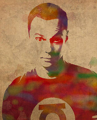 Sheldon Cooper Big Bang Theory Jim Parsons Watercolor Portrait On Worn Distressed Canvas Poster