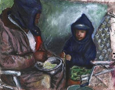 Shellin Peas With Grandpa Poster by Alga Washington