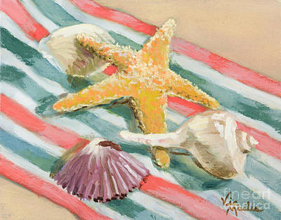 Poster featuring the painting Shells Abound by Vic  Mastis
