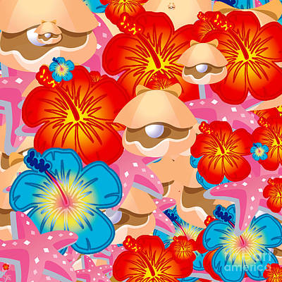 Shells And Hibiscus Poster