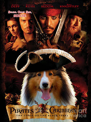 Sheltie - Shetland Sheepdog Art Canvas Print - Pirates Of The Caribbean The Curse Of The Black Pearl Poster