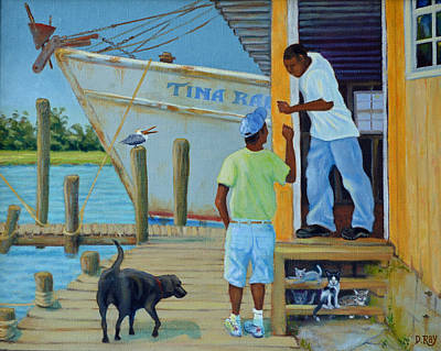 Poster featuring the painting Shem Creek Docks Week End by Dwain Ray
