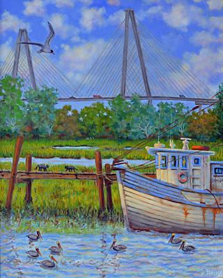 Shem Creek View Of Bridge Poster by Dwain Ray