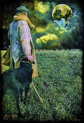 Shepherd And Moon Poster by Chuck Staley