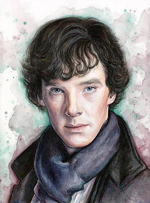Sherlock Holmes Portrait Benedict Cumberbatch Poster by Olga Shvartsur
