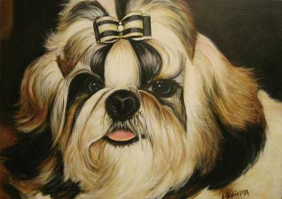 Poster featuring the painting Shih Tzu Puppy Portrait #2 by Melinda Saminski