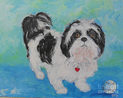 Poster featuring the painting Shih Tzu Yoda by Doris Blessington