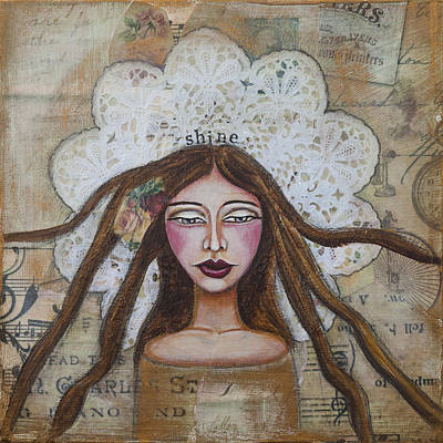 Shine Inspirational Mixed Media Folk Art Poster
