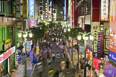 Shinjuku Street Scene At Night Poster