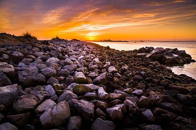 Shinnecock Bay Rock Sunset Poster