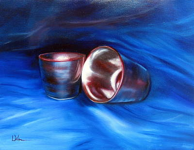 Poster featuring the painting Shiny Metal Cups Study by LaVonne Hand