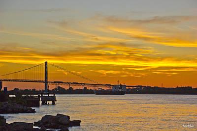 Ship Approaches Ambassador Bridge At Sunset Poster by Bill Woodstock