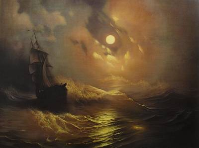 Ship At Sea Poster by Rembrandt