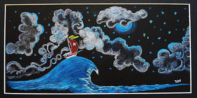 Poster featuring the drawing Ship Big Wave by Joseph Hawkins