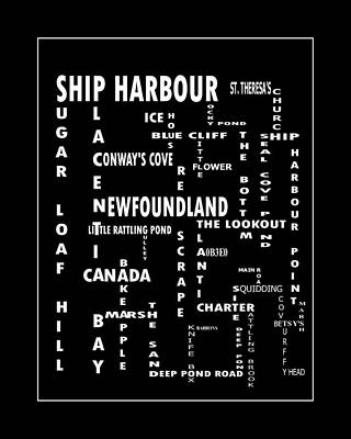 Ship Harbour Newfoundland Landmarks Crossword Art Poster by Barbara Griffin