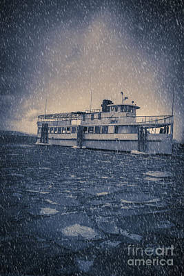 Ship In A Snowstorm Poster by Edward Fielding