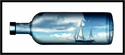 Poster featuring the digital art Ship In Bottle... by Tim Fillingim