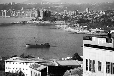 Ship In The Harbor At Valparaiso Poster by John Rizzuto