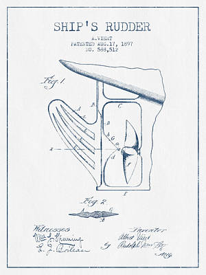 Ship Rudder Patent Drawing From 1887  -  Blue Ink Poster