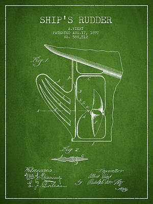 Ship Rudder Patent Drawing From 1887 - Green Poster