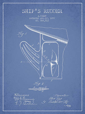 Ship Rudder Patent Drawing From 1887 - Light Blue Poster