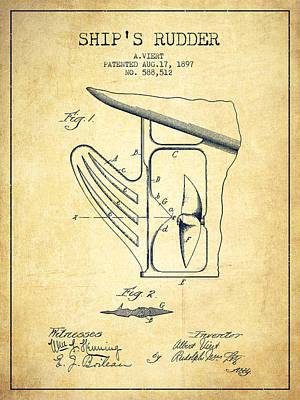 Ship Rudder Patent Drawing From 1887 - Vintage Poster