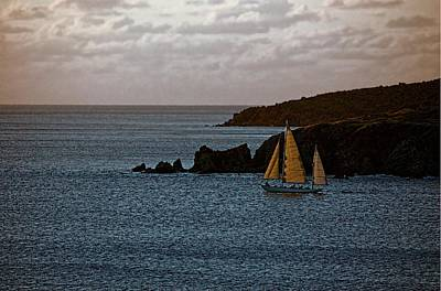 Poster featuring the photograph Ship Sailing At Dawn by Pamela Blizzard