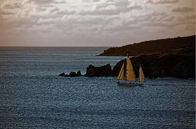 Ship Sailing At Dawn Poster by Pamela Blizzard