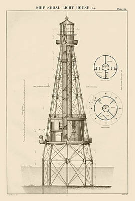 Ship Shoal Lighthouse Drawing Poster by Jerry McElroy - Public Domain Image