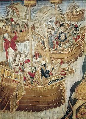 Ships 15th C.. Gothic Art. Tapestry Poster