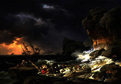 Poster featuring the digital art Shipwreck In A Thunderstorm by Joseph Vernet