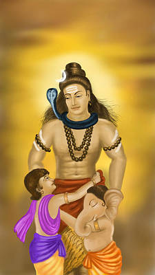 Shiva Family.  Poster by Mayur Sharma
