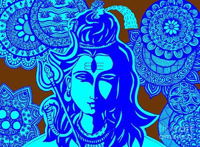 Shiva With Mandalas Poster by Sketchii Studio