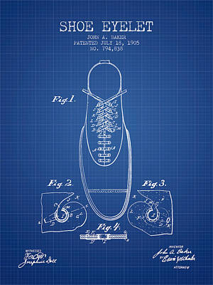 Shoe Eyelet Patent From 1905 - Blueprint Poster