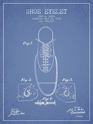 Shoe Eyelet Patent From 1905 - Light Blue Poster