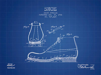Shoe Patent From 1906 - Blueprint Poster by Aged Pixel