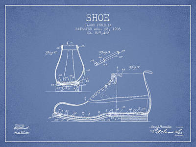 Shoe Patent From 1906 - Light Blue Poster by Aged Pixel