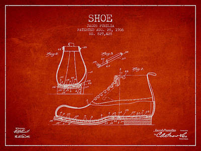 Shoe Patent From 1906 - Red Poster by Aged Pixel