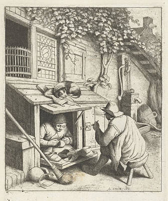 Shoemaker In Store For His House And A Customer Poster by Adriaen Van Ostade