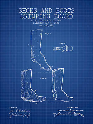 Shoes And Boots Crimping Board Patent From 1881 - Blueprint Poster by Aged Pixel