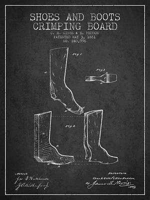 Shoes And Boots Crimping Board Patent From 1881 - Charcoal Poster by Aged Pixel
