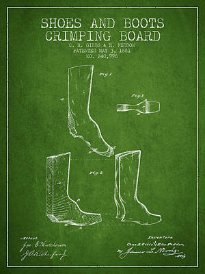 Shoes And Boots Crimping Board Patent From 1881 - Green Poster by Aged Pixel