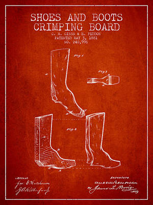 Shoes And Boots Crimping Board Patent From 1881 - Red Poster by Aged Pixel
