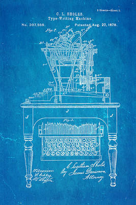 Sholes Qwerty Keyboard Patent Art 1878 Blueprint Poster by Ian Monk