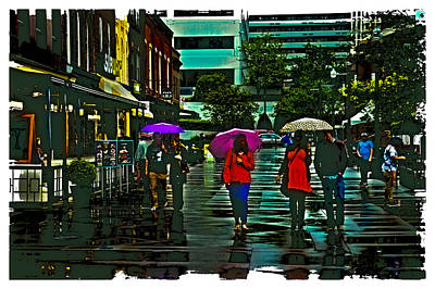 Shopping In The Rain - Knoxville Poster by David Patterson
